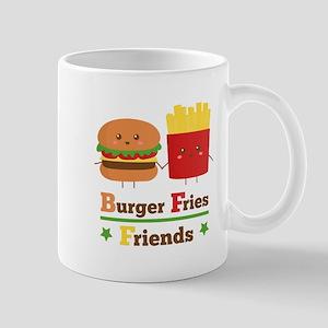 Kawaii Cartoon Burger Fries Friends BFF Small Mug