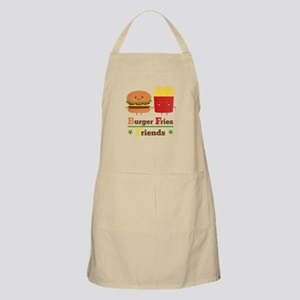 Kawaii Cartoon Burger Fries Friends BFF Apron