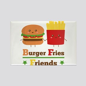 Kawaii Cartoon Burger Fries Friends BFF Rectangle