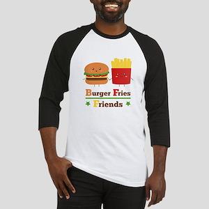 Kawaii Cartoon Burger Fries Friends BFF Baseball J
