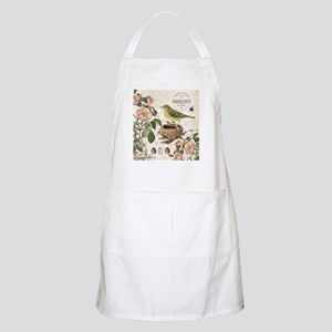 Modern vintage french bird and nest Apron