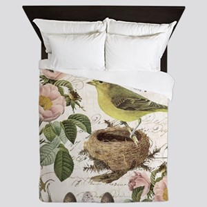 Modern vintage french bird and nest Queen Duvet