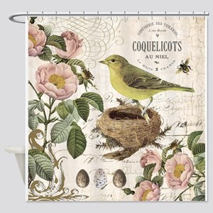 Modern vintage french bird and nest Shower Curtain
