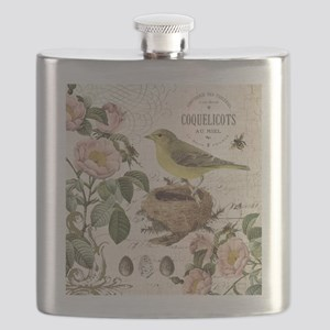 Modern vintage french bird and nest Flask