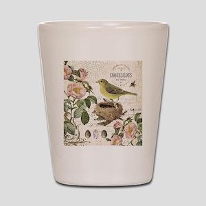 Modern vintage french bird and nest Shot Glass
