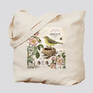 Modern vintage french bird and nest Tote Bag