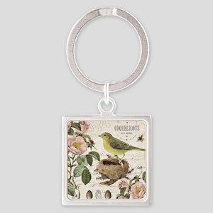 Modern vintage french bird and nest Keychains