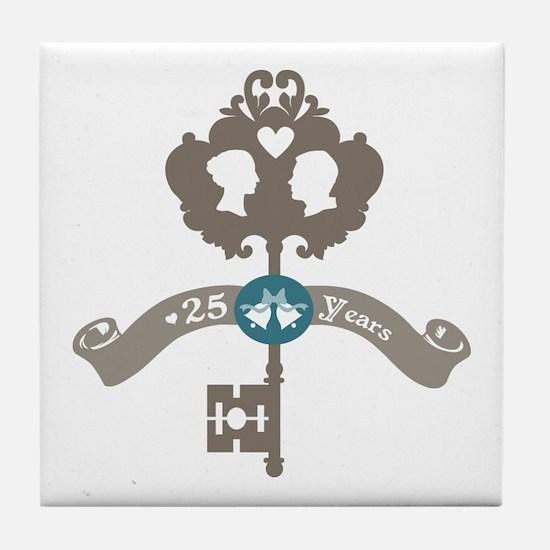 25th Anniversary vintage key Tile Coaster