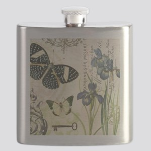modern vintage French butterflies and iris Flask