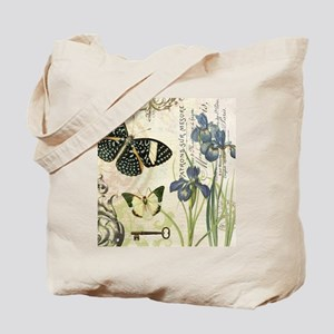 modern vintage French butterflies and iris Tote Ba