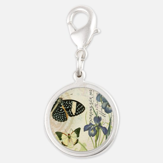 modern vintage French butterflies and iris Charms