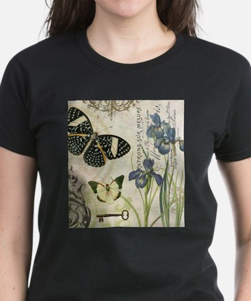 modern vintage French butterflies and iris T-Shirt
