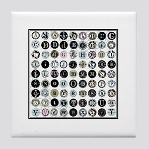 Modern vintage typewriter alphabet keys Tile Coast