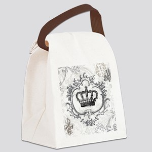 Vintage french shabby chic crown Canvas Lunch Bag