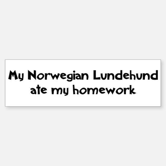 Norwegian Lundehund ate my ho Bumper Bumper Bumper Sticker