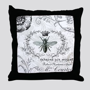 Vintage french shabby chic queen bee collage Throw