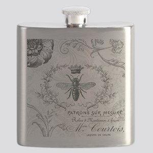 Vintage french shabby chic queen bee collage Flask