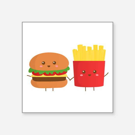 Kawaii Burger and Fries are best pals Sticker