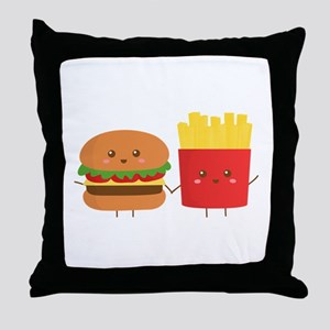 Kawaii Burger and Fries are best pals Throw Pillow