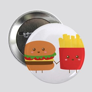 """Kawaii Burger and Fries are best pals 2.25"""" Button"""