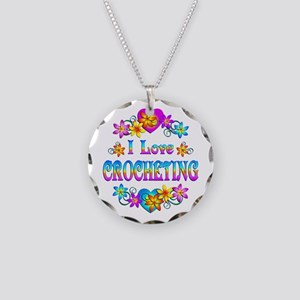 I Love Crocheting Necklace Circle Charm