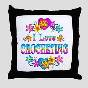 I Love Crocheting Throw Pillow