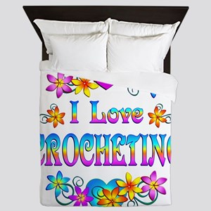 I Love Crocheting Queen Duvet
