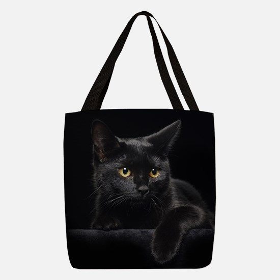 Black Cat Polyester Tote Bag