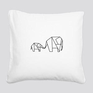Origami Elephant Square Canvas Pillow