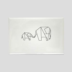 Origami Elephant Rectangle Magnet