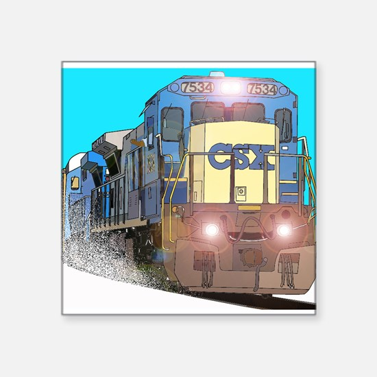 "CSX Train Square Sticker 3"" x 3"""