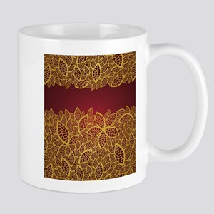 Beautiful golden and red leaves lace pattern Small