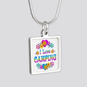 I Love Camping Silver Square Necklace