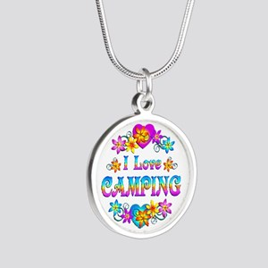 I Love Camping Silver Round Necklace