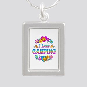 I Love Camping Silver Portrait Necklace