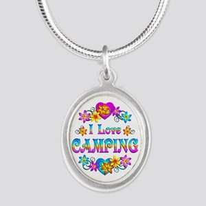 I Love Camping Silver Oval Necklace