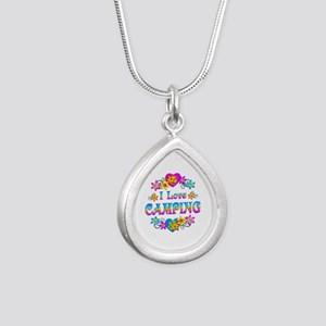I Love Camping Silver Teardrop Necklace