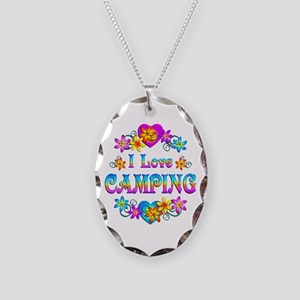 I Love Camping Necklace Oval Charm