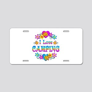 I Love Camping Aluminum License Plate