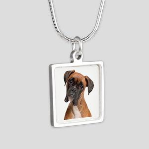 Boxer Silver Square Necklace