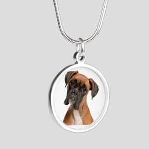 Boxer Silver Round Necklace