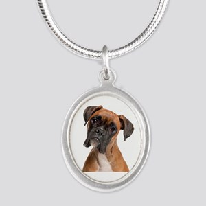 Boxer Silver Oval Necklace