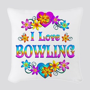 I Love Bowling Woven Throw Pillow