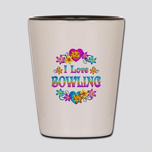 I Love Bowling Shot Glass