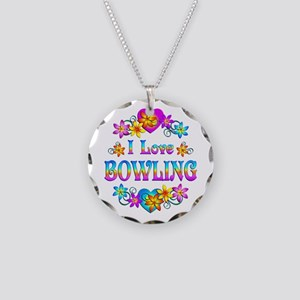 I Love Bowling Necklace Circle Charm