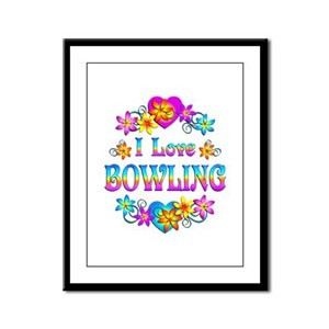 I Love Bowling Framed Panel Print