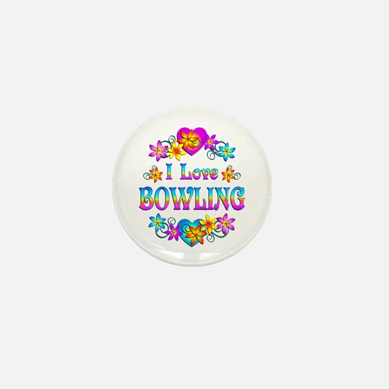I Love Bowling Mini Button