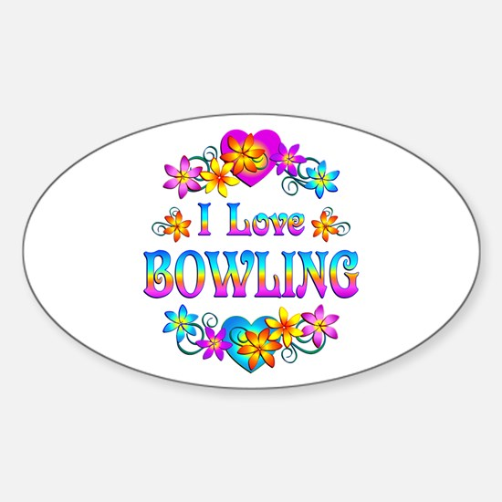 I Love Bowling Sticker (Oval)