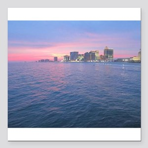 "sunset on the water Square Car Magnet 3"" x 3"""