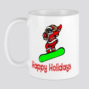 Santa Boards Happy Holidays Mug